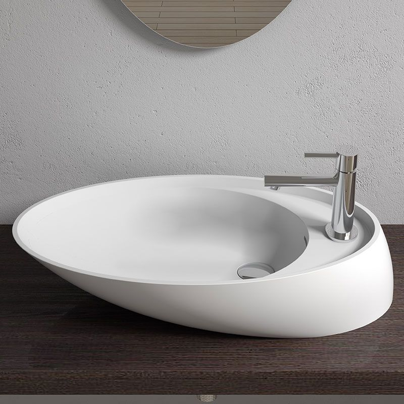 vasque a poser blanche Vasque de salle de bain design à poser, vasque blanche design en solid  surface SDV38 - Distribain