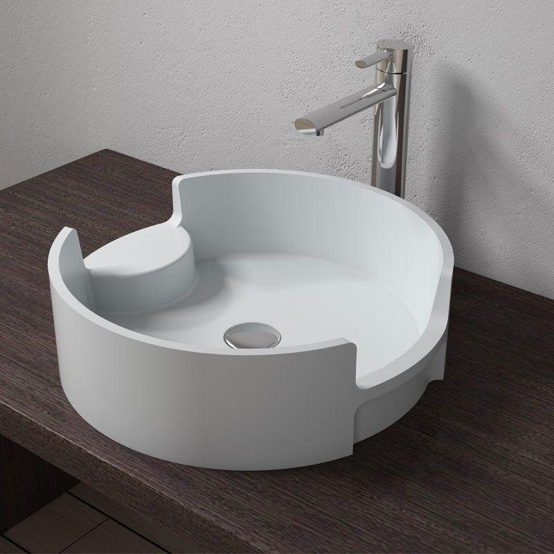 vasque a poser blanche Vasque à poser ronde blanche en solid surface, vasque à poser ronde blanche  SDV69 - Distribain