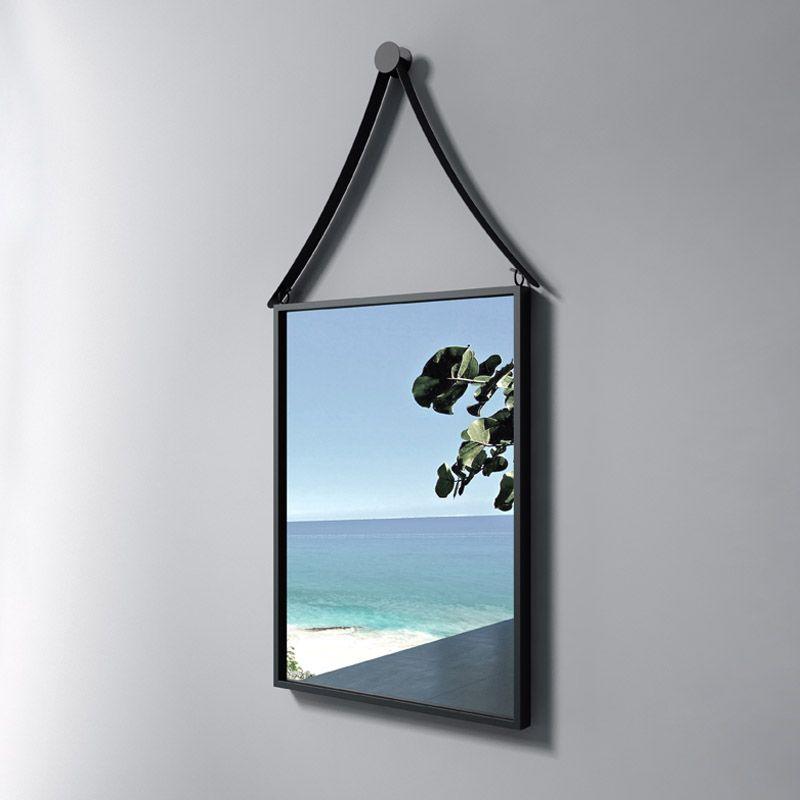 Miroir rectangulaire portrait 420x980 mm miroir avec contour noir sdvm4260 distribain for Miroir rectangulaire noir