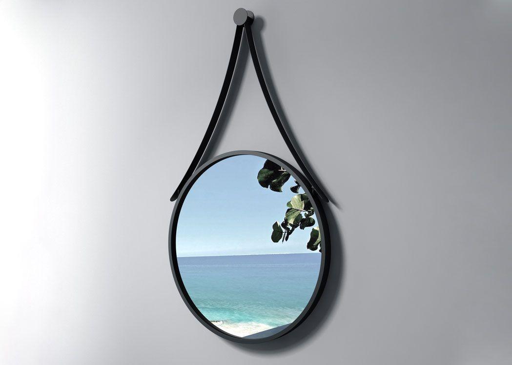 Miroir rond avec contour noir sdvm5050 miroir rond noir pour salle de bain distribain for Miroir rond sans cadre