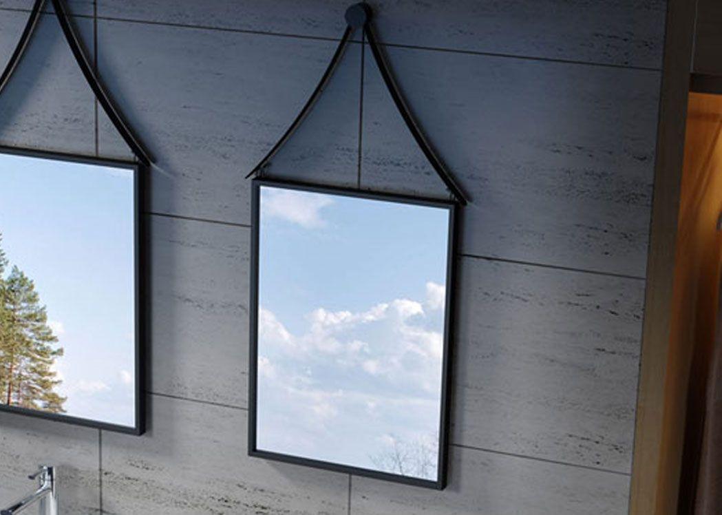 miroir avec cadre noir pour salle de bain miroir avec cadre noir en inox 560x1080 mm distribain. Black Bedroom Furniture Sets. Home Design Ideas