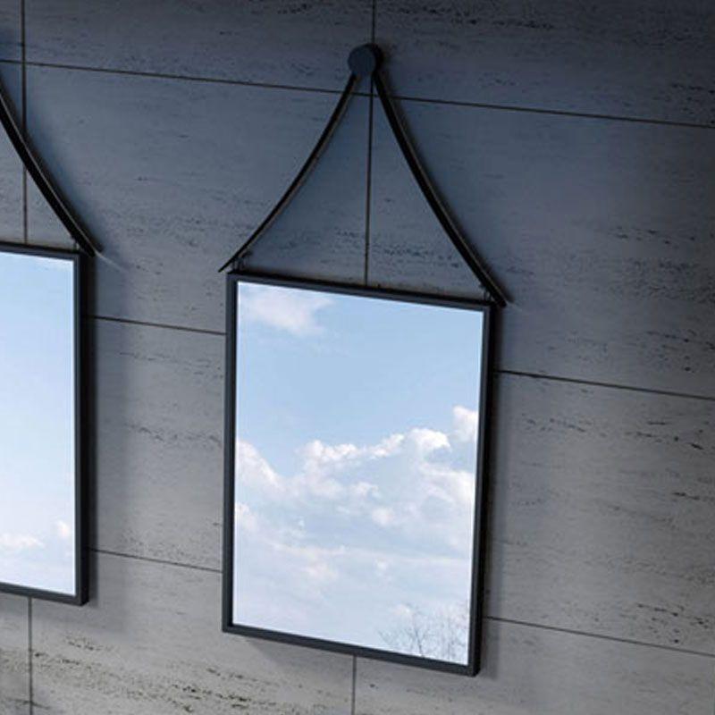 Miroir avec cadre noir pour salle de bain, miroir avec cadre noir en inox  560x1080 mm - Distribain