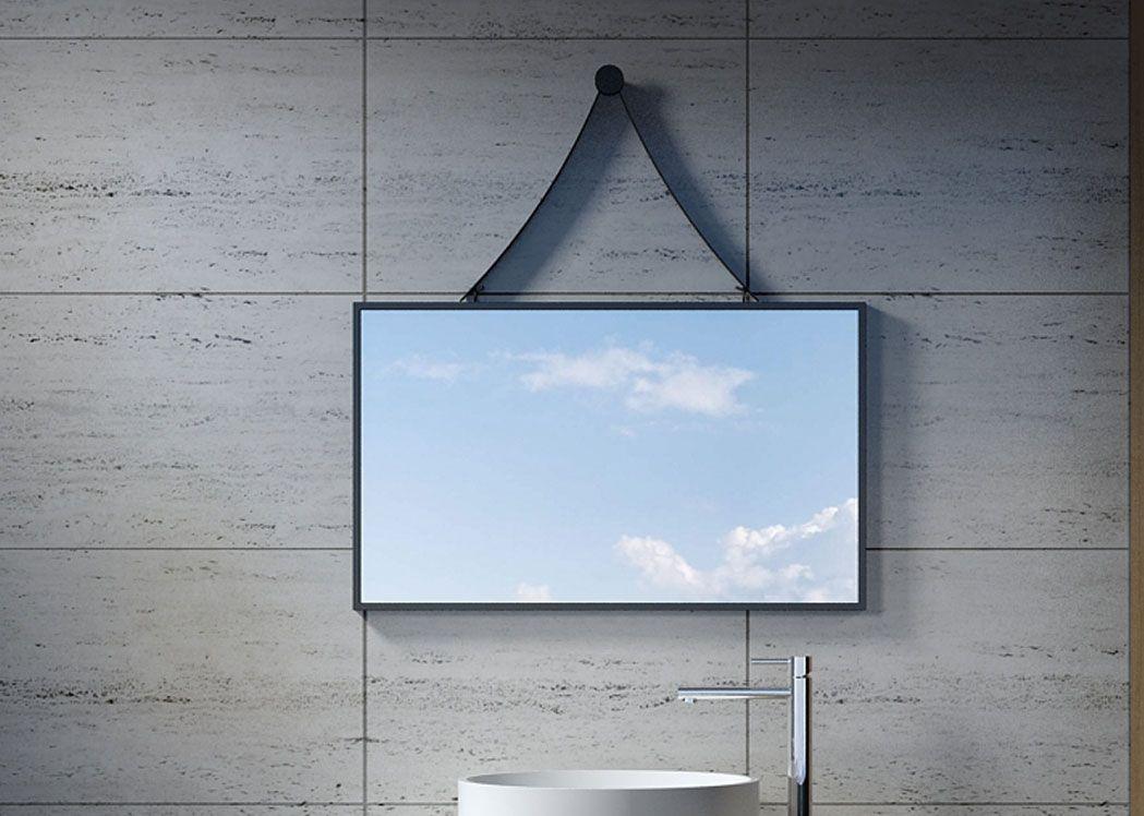 Miroir rectangulaire avec contour noir miroir - Miroir de salle de bain design ...