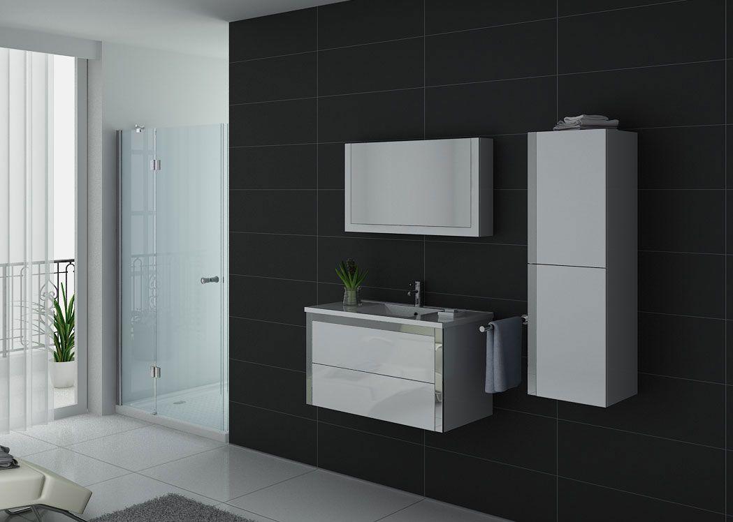 meuble de salle de bain 1 vasque 90 cm meuble de salle de bain suspendu blanc dis025 900