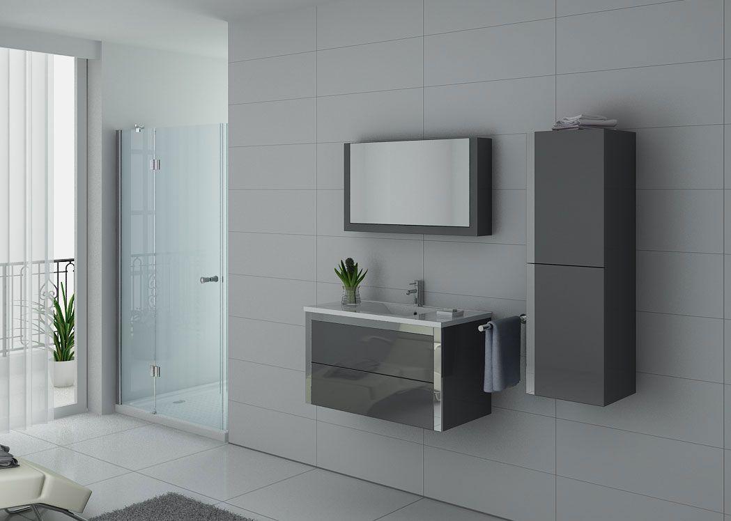 Meuble de salle de bain gris taupe 1 vasque meuble de salle de bain gris taupe 90 cm distribain - Meuble vasque gris ...