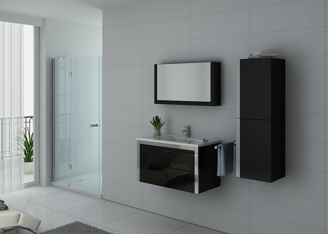 enxemble de salle de bain noir et inox meuble de salle de. Black Bedroom Furniture Sets. Home Design Ideas
