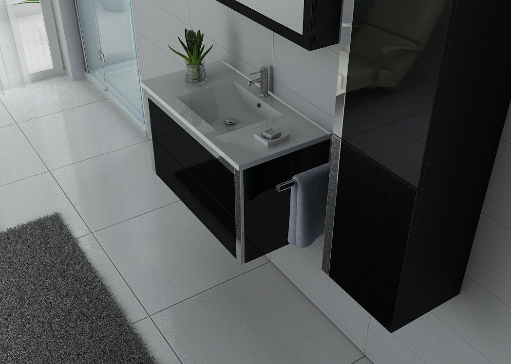 enxemble de salle de bain noir et inox meuble de salle de bain 1 vasque 90 cm dis025 900. Black Bedroom Furniture Sets. Home Design Ideas