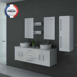 Meuble de salle de bain double vasque DIS747 Blanc