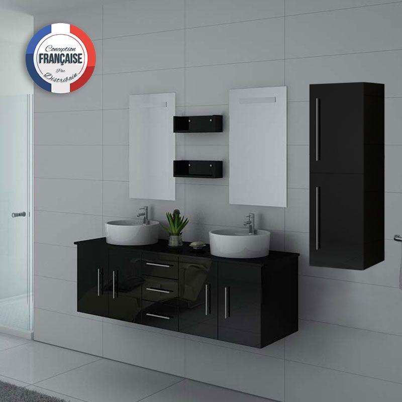 Meuble de salle de bain double vasque noir laqué, meuble double vasque noir  laqué DIS747 - Distribain