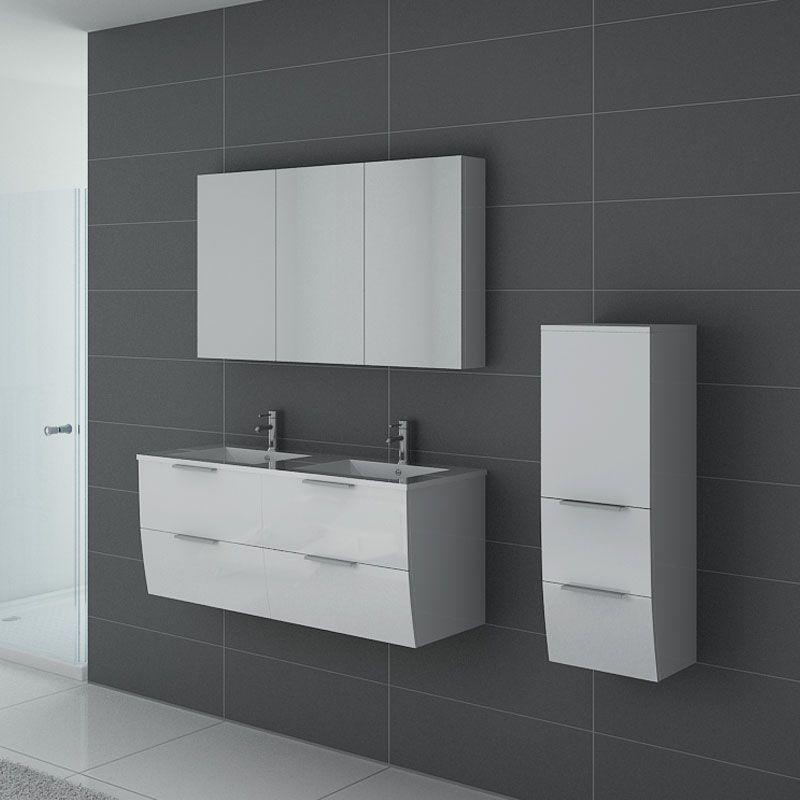 Ensemble de salle de bain double vasque livourne blanc - Ensemble robinetterie salle de bain ...