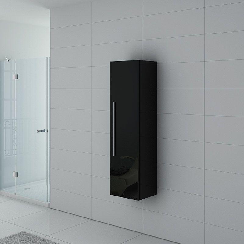 Colonne de salle de bain noire à suspendre, colonne de rangement noire  laquée – Distribain