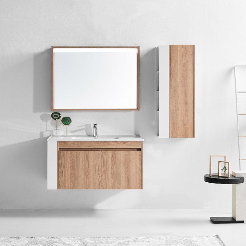 meuble pour salle de bain avec miroir et colonne de rangement esprit  scandinave - Distribain