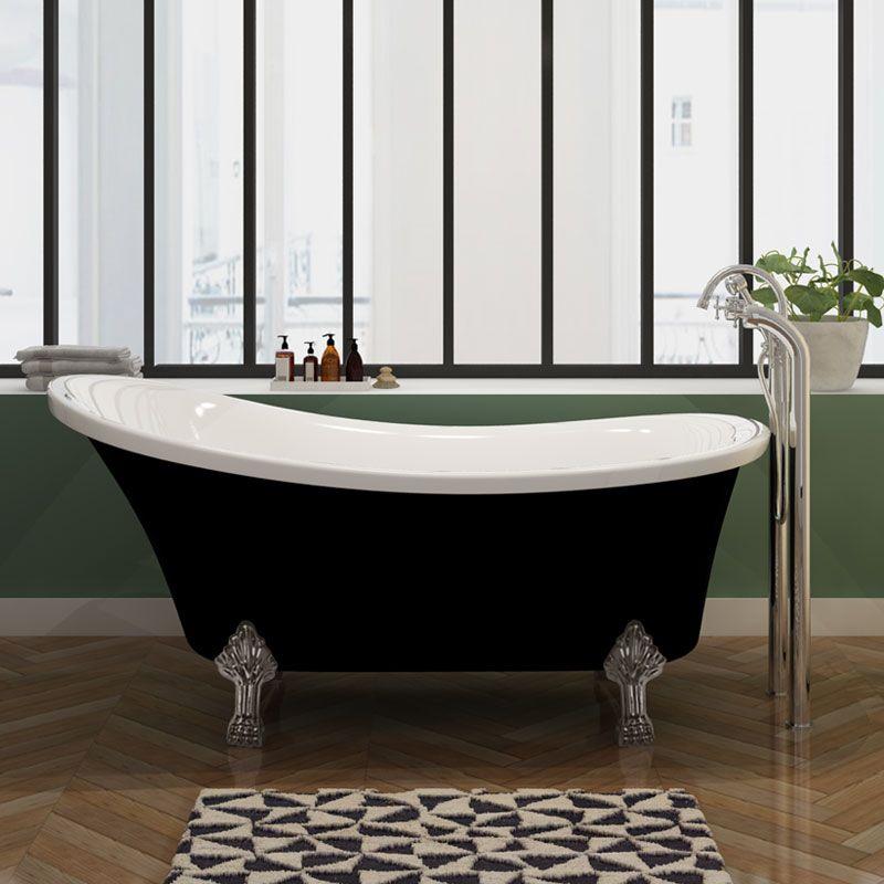 Baignoire à pieds noire et blanche, petite baignoire sur pieds 160 cm  Cesano Black – Distribain