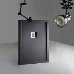 Receveur de douche en Gel coat avec rebords LISO ENMARCADO Graphite 120x80cm