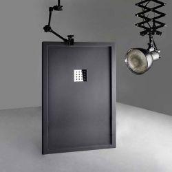 Receveur de douche en Gel coat avec rebords LISO ENMARCADO Graphite 140x90cm