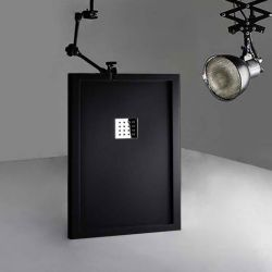 Receveur de douche en Gel coat avec rebords LISO ENMARCADO Noir 120x80cm