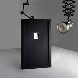 Receveur de douche en Gel coat avec rebords LISO ENMARCADO Noir 140x80cm