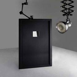 Receveur de douche en Gel coat avec rebords LISO ENMARCADO Noir 140x90cm