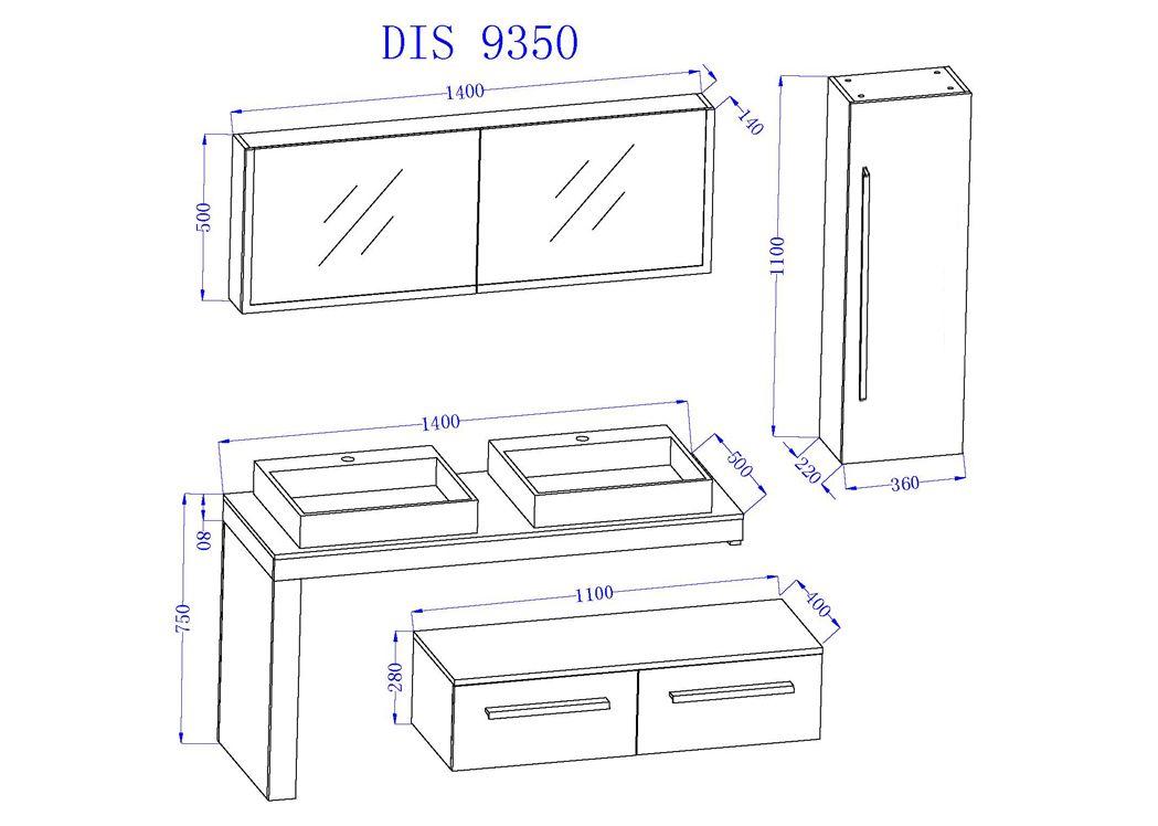 ... Schémas Et Dimensions Meuble Double Vasque DIS9350BT