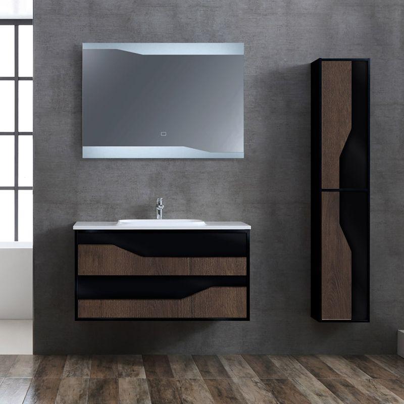 Meuble de salle de bain simple vasque 1m URBINO 1000 Chêne Foncé et Noir