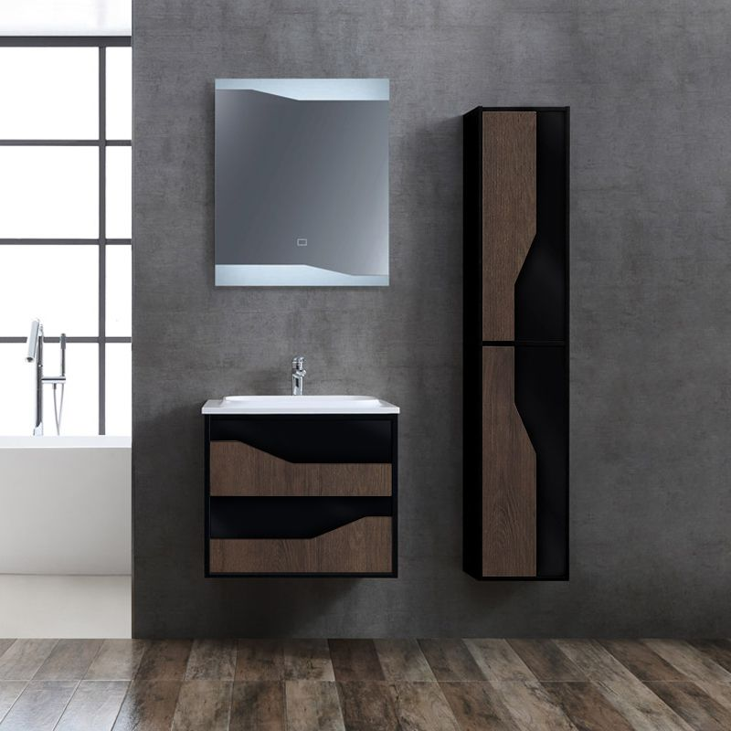 Meuble de salle de bain compact et fonctionnel URBINO 600 Chêne Foncé et Noir