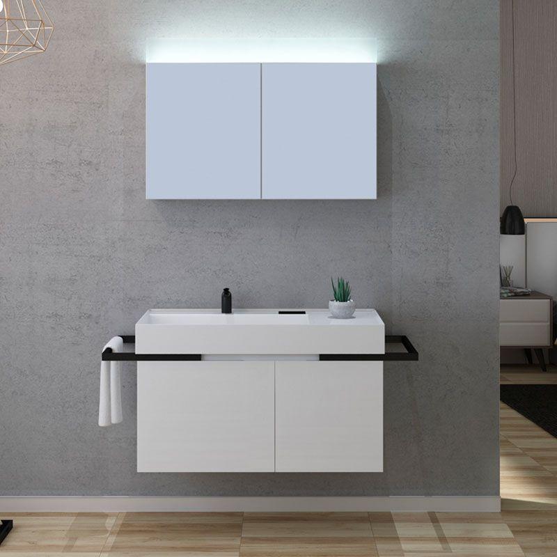 Meuble de salle de bain blanc et noir TERAMO 1000