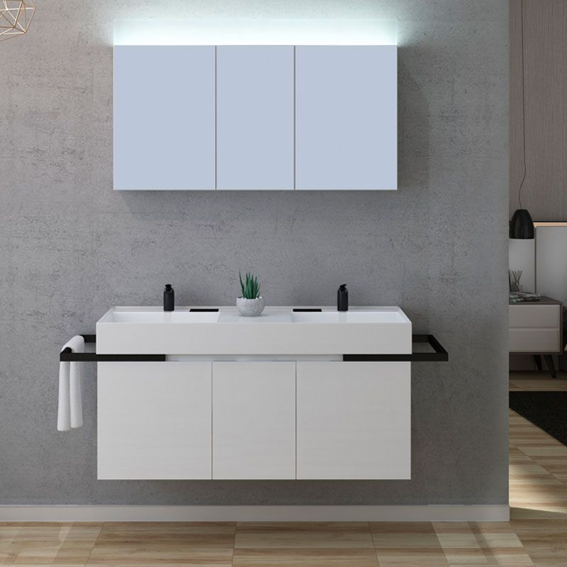 Ensemble meuble de salle de bain blanc, meuble double vasque 120 cm Teramo  - Distribain