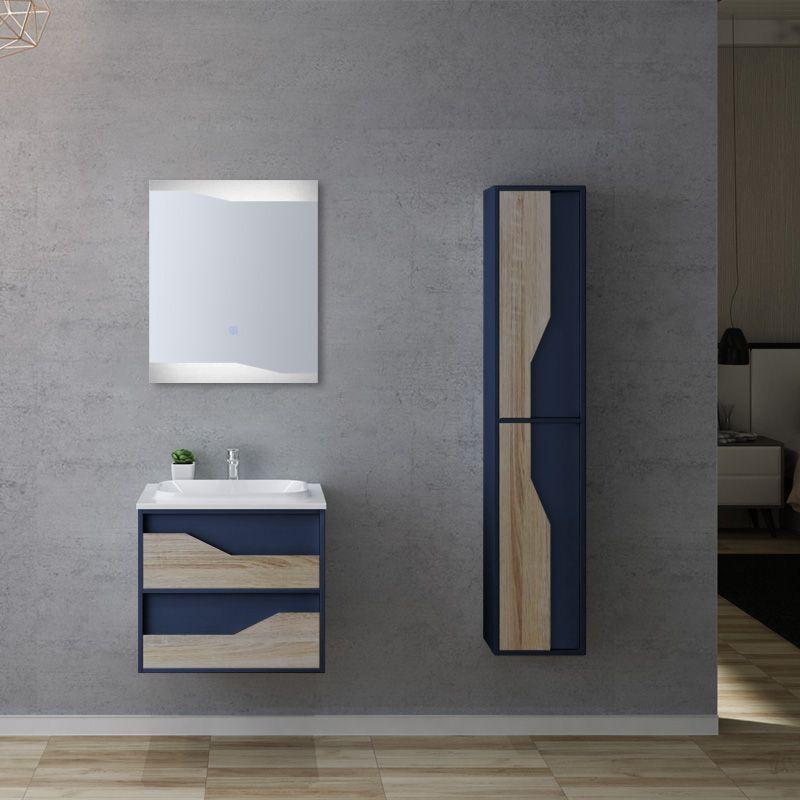 Meuble de salle de bain bleu et bois URBINO 600 Scandinave et Bleu Saphir