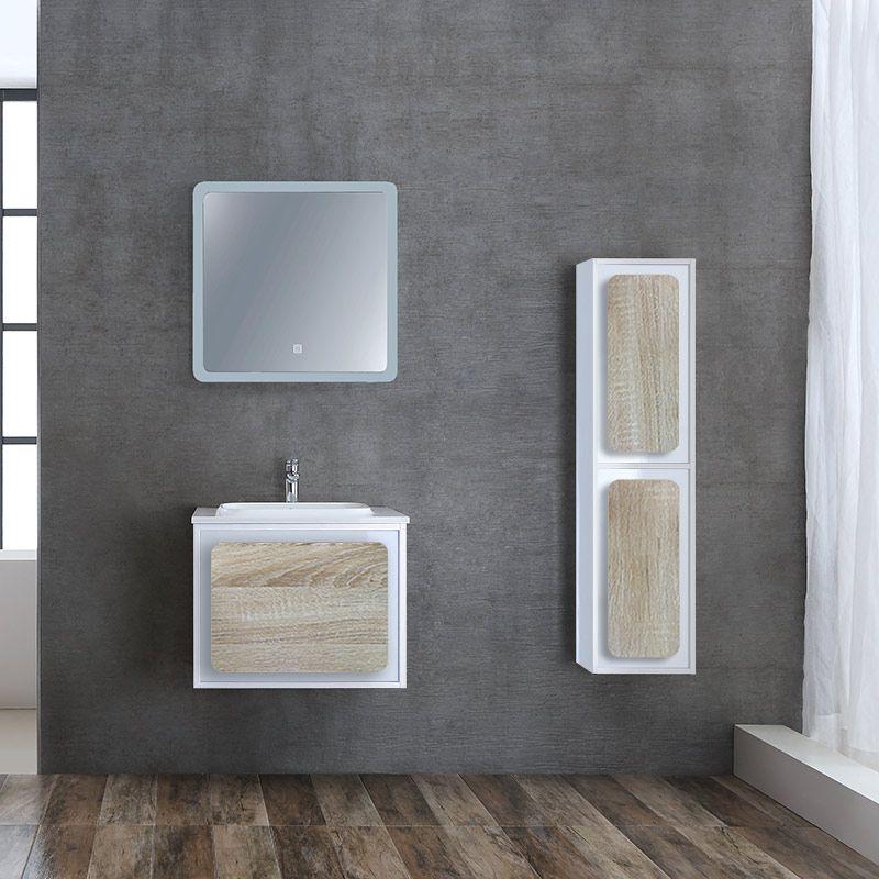 Meuble de salle de bain simple vasque ROVIGO 600 Scandinave et Blanc