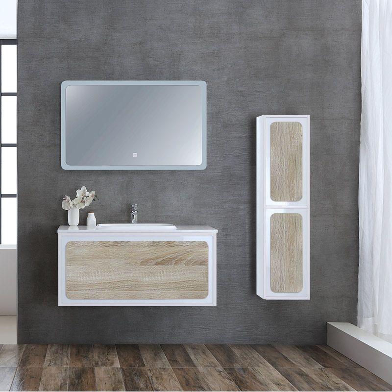 Meuble Simple Vasque Mural De 1m Avec Colonne De Rangement Et Miroir Rovigo