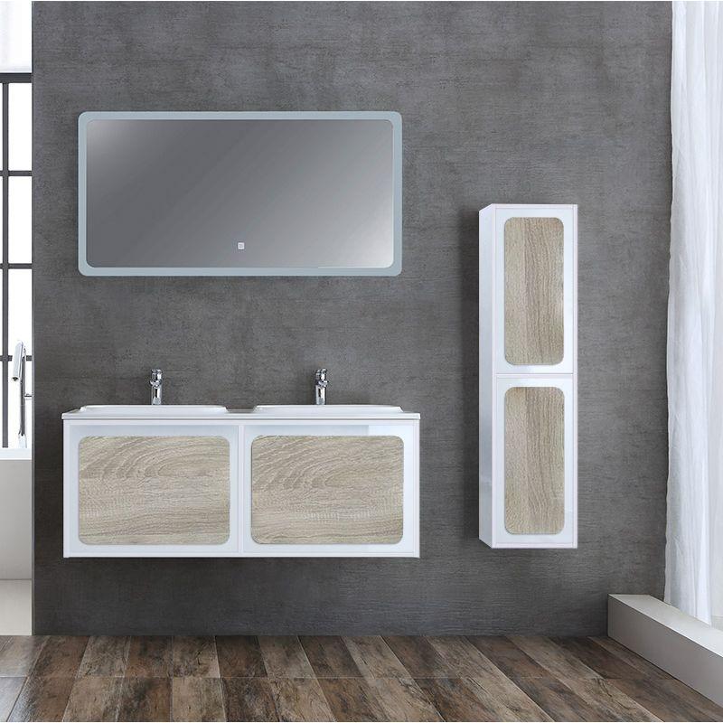 Meuble de salle de bain double vasque ROVIGO 1200 Scandinave et Blanc