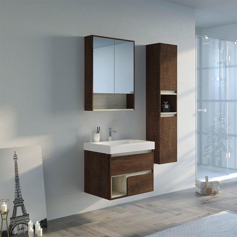 Meuble de salle de bain bois foncé ANZIO 600