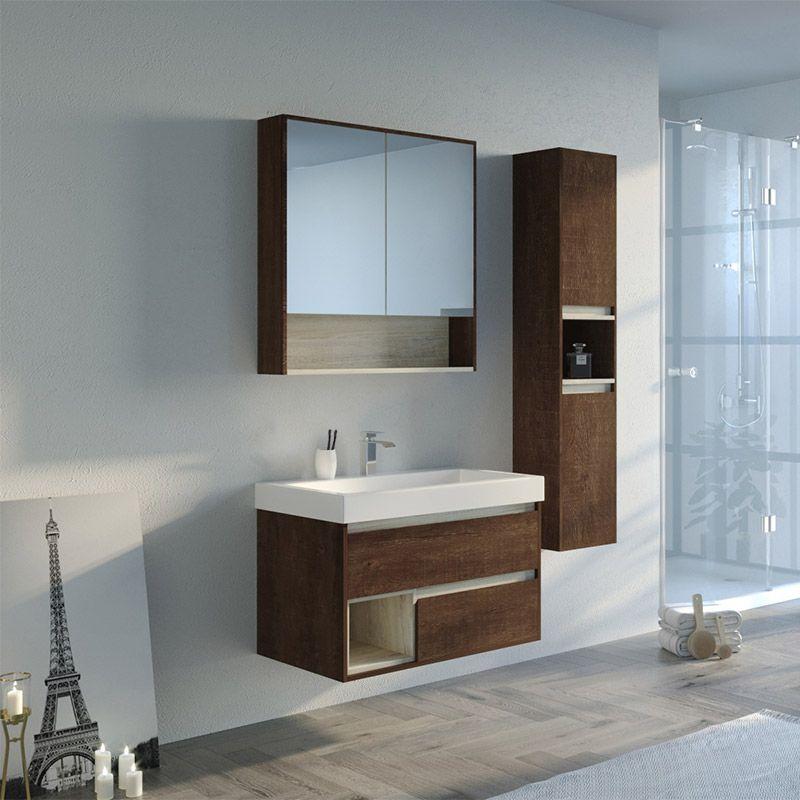 Meuble de salle de bain couleur bois ANZIO 800