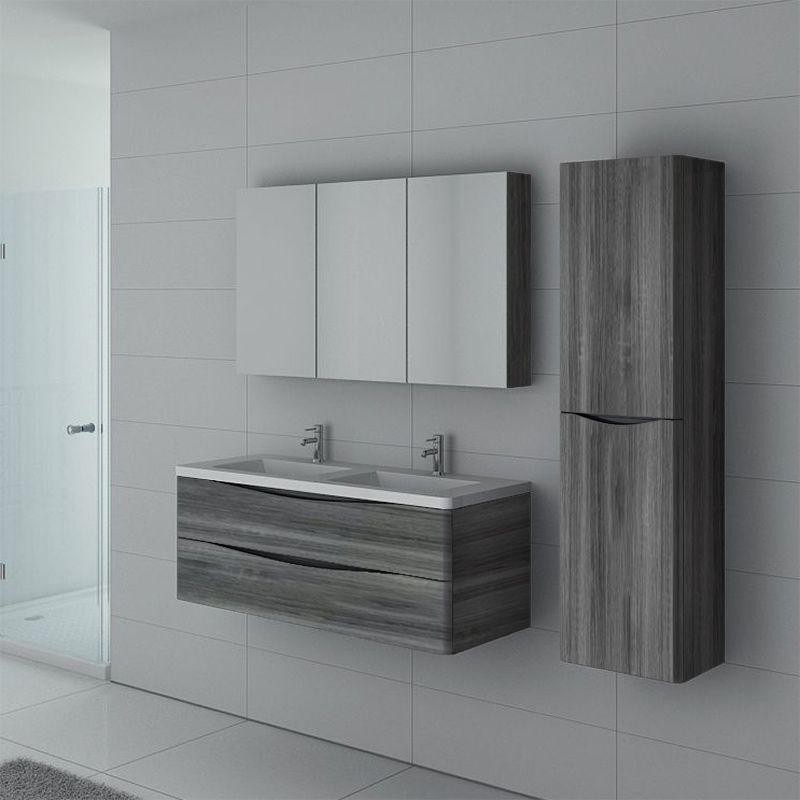 Meuble de salle de bain double vasque TREVISE 1200 Chêne gris