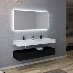 Double vasque blanche et meuble noir mat AVELLINO 1400N
