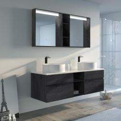 Meuble de salle de bain LASPEZIA 1600 Noir
