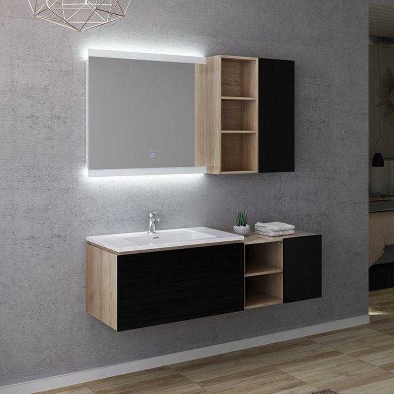 Meuble de salle de bain ALASSIO 800 Scandinave vintage & noir gloss