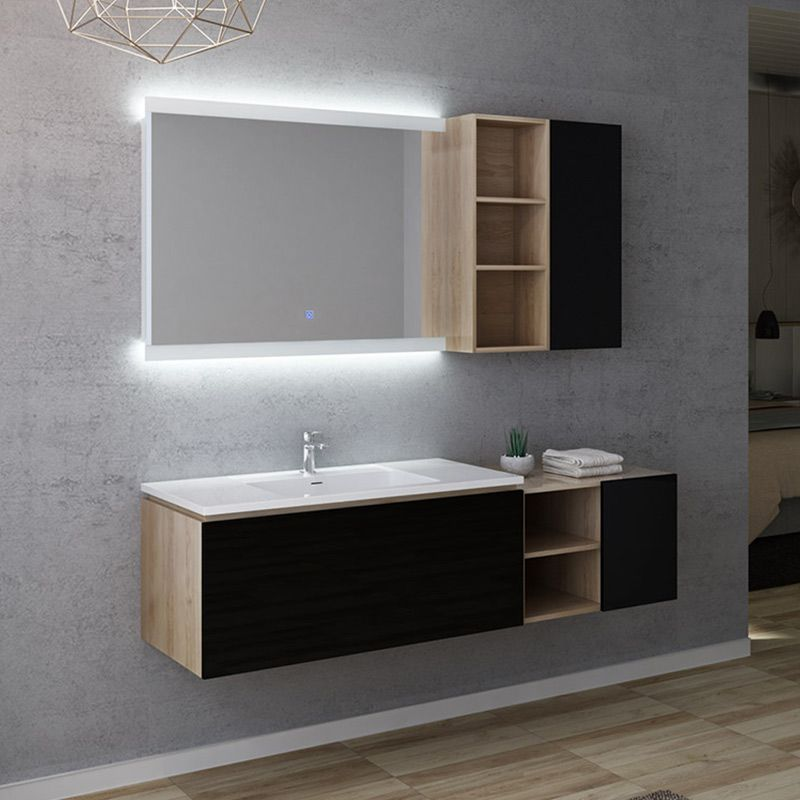 Meuble de salle de bain ALASSIO 1000 Scandinave Vintage & Noir
