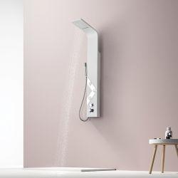 """Colonne d'hydromassage A216-2 design blanche avec déco """"V"""" miroir"""