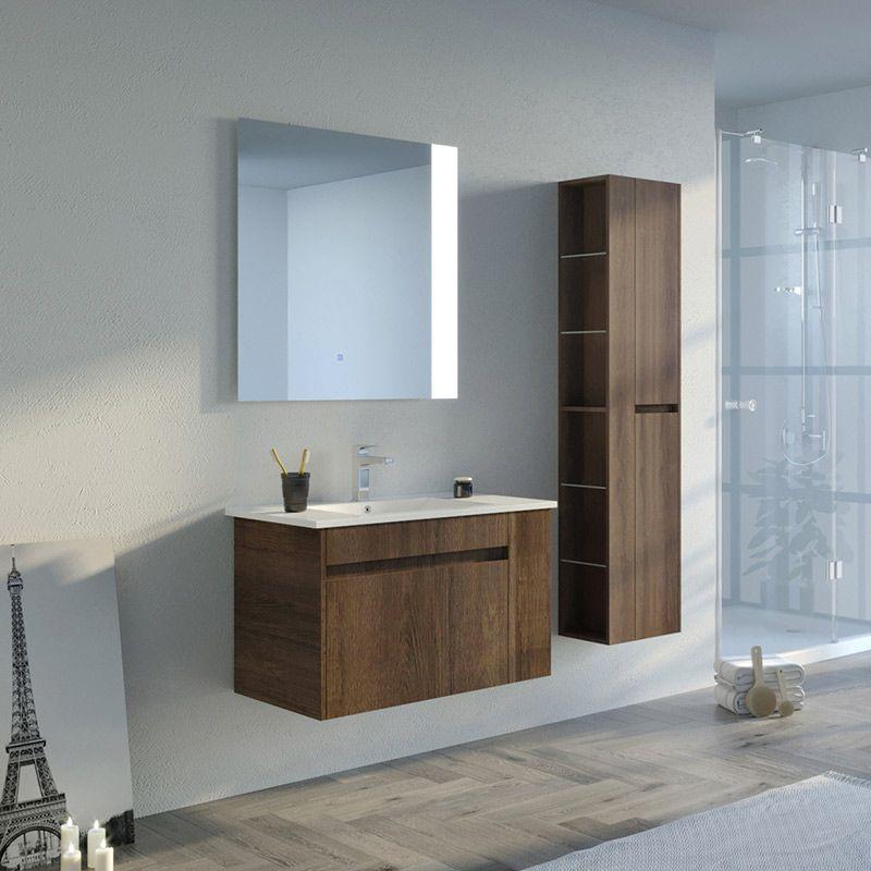 Meuble de salle de bain BOVALINO 800 Chêne Foncé
