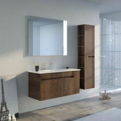 Meuble de salle de bain BOVALINO 1000 Chêne Foncé avec miroir leds