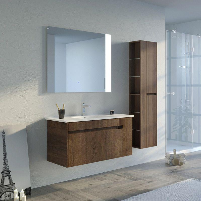 Meuble de salle de bain simple vasque BOVALINO 1000 Chêne Foncé