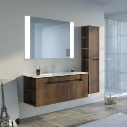 Meuble de salle de bain BOVALINO 1200 Chêne Foncé avec miroir lumineux tactile