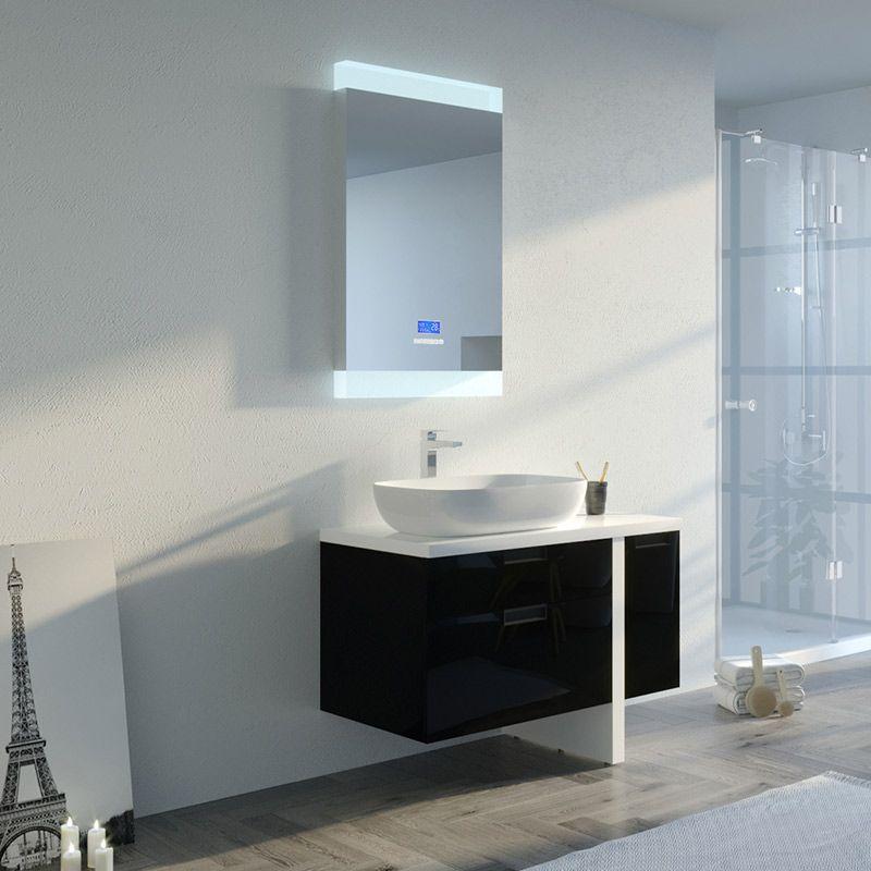 Meuble de salle de bain noir et blanc ultra design SCARLINO 1000 Noir