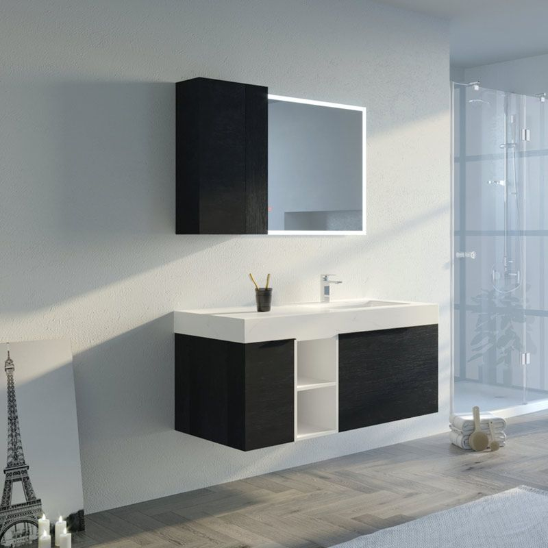 Meuble de salle de bain LANCIANO 1200 Noir et Blanc