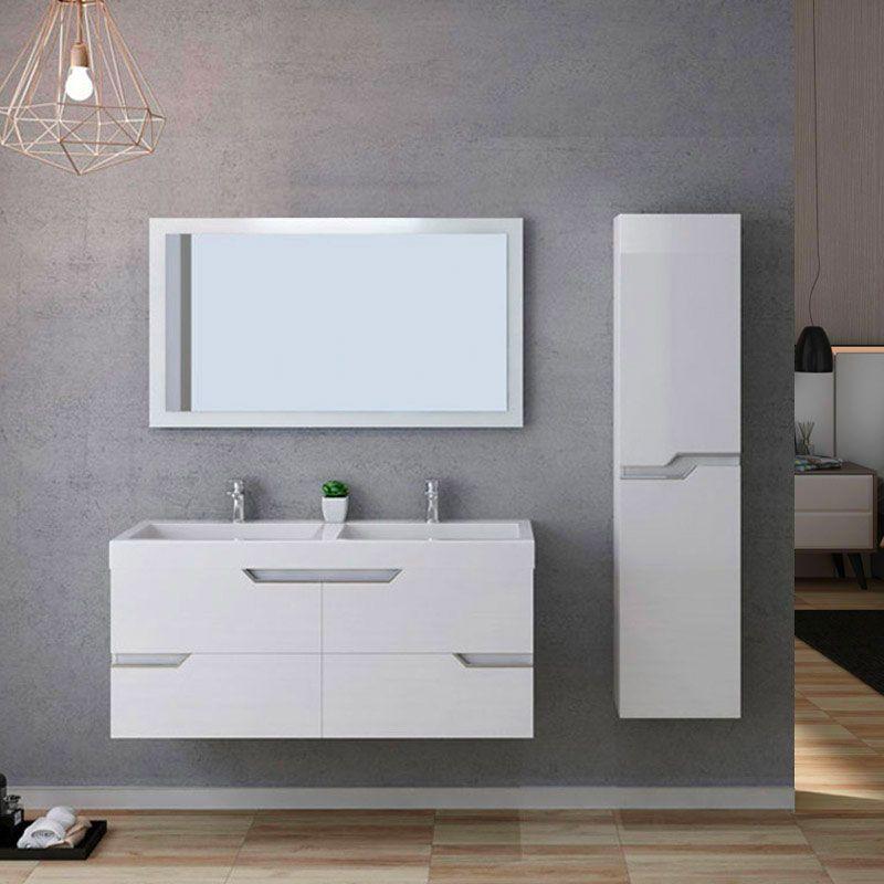 Meuble de salle de bain double vasque CALABRO 1200 Blanc
