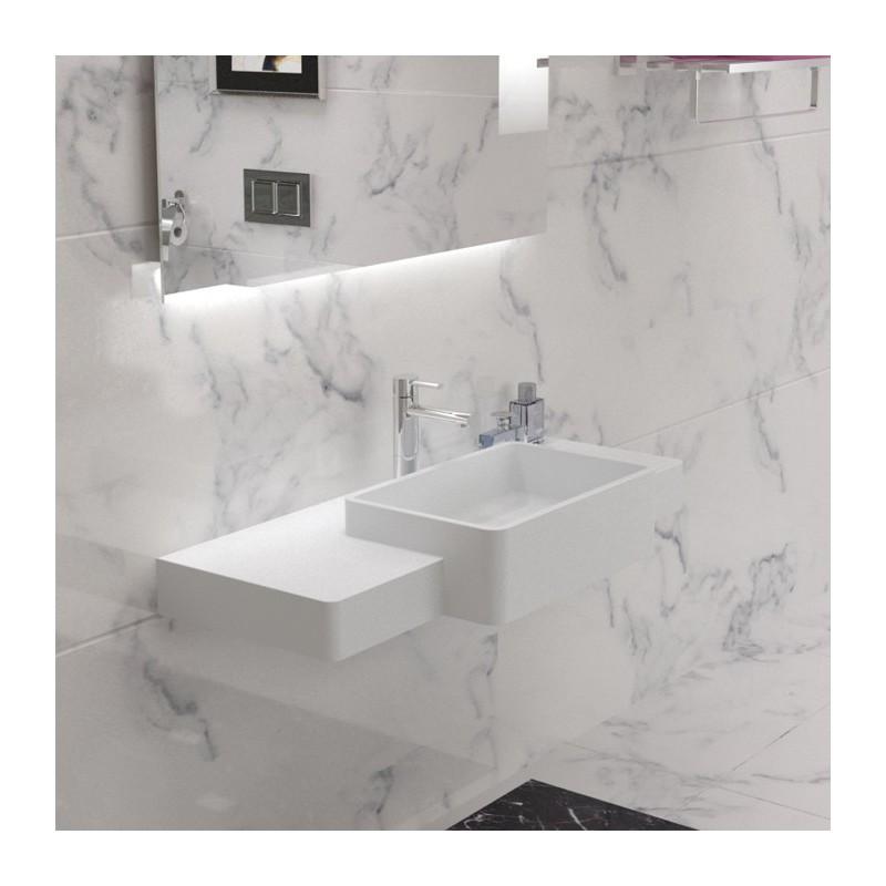 Plan vasque mural avec vasque rectangulaire SDK6
