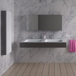 Double plan vasque mural avec tiroirs SDPW12-D