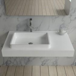 Plan vasque suspendu en polystone blanc mate SDPW13-A