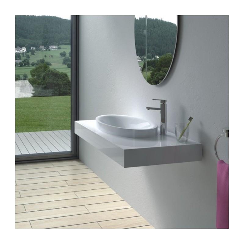 Plan vasque avec vasque ovale à rebords SDPW13-B